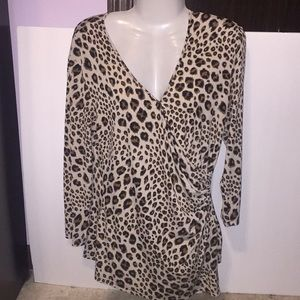 Spenser Black Brown animal print top. Size Large.
